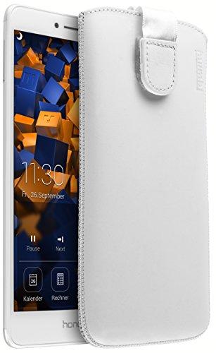 mumbi Echt Ledertasche kompatibel mit Huawei G8 / GX8 Hülle Leder Tasche Hülle Wallet, weiss