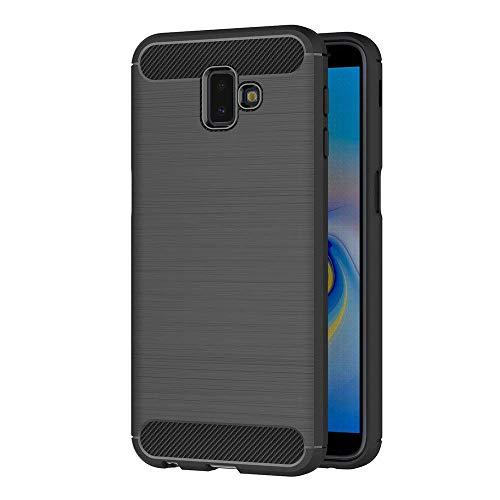 "Coovertify Funda Fibra de Carbono Negra Samsung J6 Plus, Carcasa Negra TPU Gel Silicona Flexible Textura Efecto Fibra de Carbono para Samsung J6 Plus (6"")"