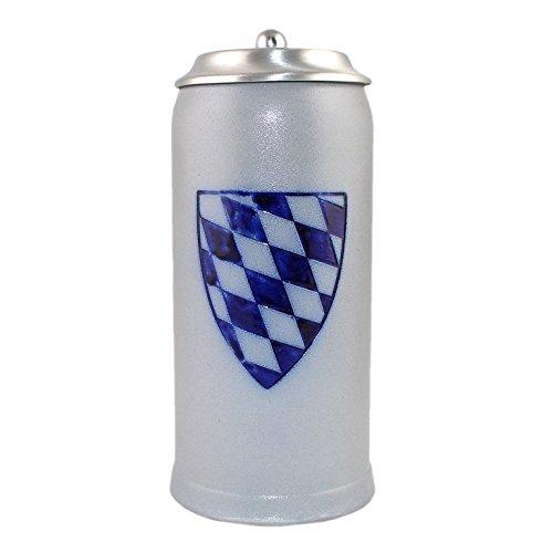 Bierkrug mit Zinndeckel inkl Gravur nach Wunsch; schlanke Form,