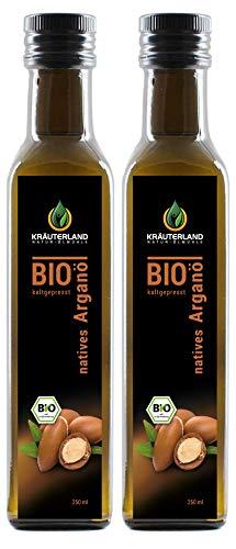 Kräuterland - Bio Arganöl nativ 500ml - 100% rein und kaltgepresst aus Marokko - Pflege für Haut, Haare, Anti-Aging - auch als Speiseöl(2x250ml)