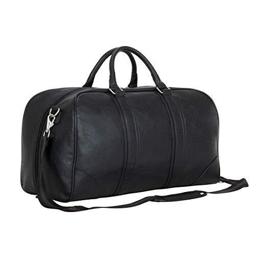 Ben Sherman Unisex-Adult 20' Vegan Leather Carry-On Duffel Bag Weekender Travel Duffle for Men Or Women, Black