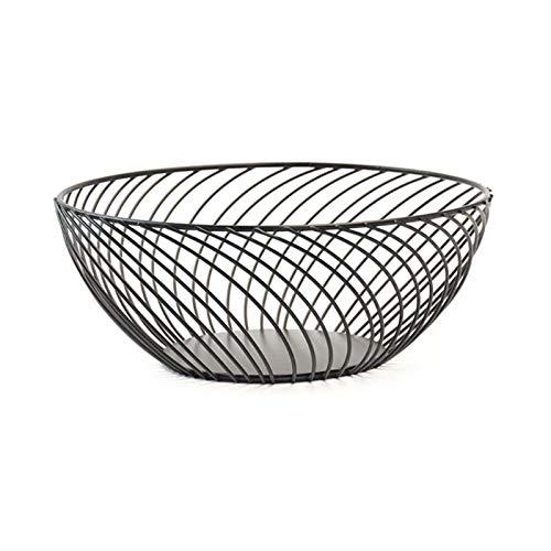 Platters - Cesta para frutas de alambre de metal para cocina y sala de estar, cuenco para frutas y verduras y aperitivos (color: negro, tamaño: mediano)