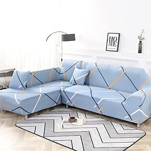 WXQY Funda de sofá elástica geométrica Funda de sofá elástica Fundas para sofá de Esquina seccional en Forma de L Chaise Longue Funda de sofá A19 2 plazas