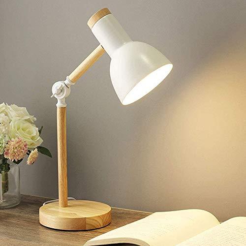 Mengjay Nordic Modern Creative Tischlampe Schlafzimmer Nachttischlampe Kinder Büro Augenschutz Lesetischlampe Verstellbare Schreibtischlampe E27 Holz Metall Nachtlampe (Weiß)