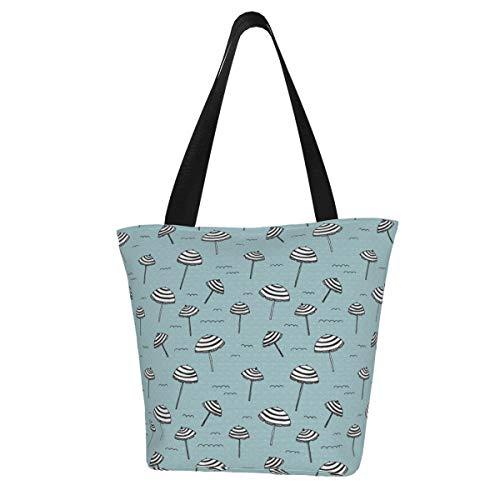 Einkaufstaschen, Tag am Strand, Sonnenschutz, tropischer Sonnenschirm, blaue Leinen-Schultertaschen, wiederverwendbare faltbare Reisetaschen, groß und langlebig, robuste Einkaufstaschen
