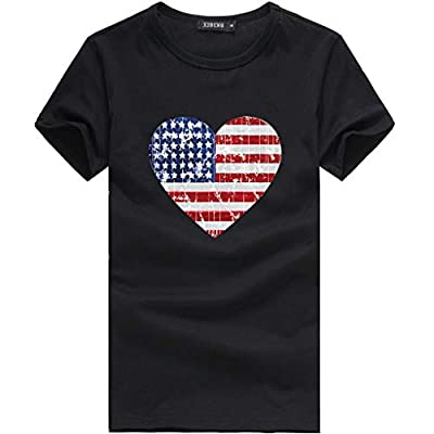 Leewos Hot Sale! 2019 Fashion!Women Independence Day Party T-Shirt Fashion American Flag Heart Shape Printed Tops Black by Leewos Hot Sale!