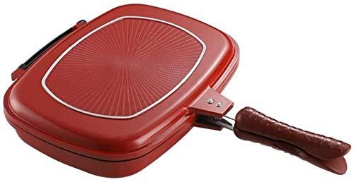 Barbacoa de Dos Caras Parrilla de la Parrilla Una Barbacoa de cocción de Barbacoa no palpable portátil con Mango Anti-escaldado para la Tortilla Cuadrada al Aire Libre Pan en la Cocina Evolutions
