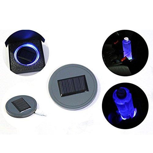 ELOGOOG 1pc Solar Cup Holder Bottom Pad LED Light Cover Trim Atmosphere Lamp For All car