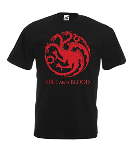 T-Shirt Maglietta Fire And Blood Targaryen Game of Thrones Trono di Spade Uomo (Nero, Small)
