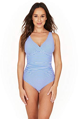 Nip Tuck Swim Stripe Cross Front Design Tummy Control One Piece Swimsuit (6)