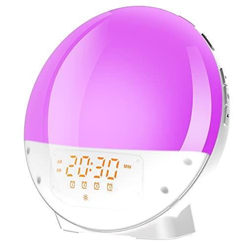 Wecklicht Wecker mit Sonnenaufgang / Sonnenuntergang Simulation Doppelalarm und Schlummerfunktion, 7-Farben-Atmosphärenlampe, 6 Sounds und FM-Radio, Nachttisch Nachttischlicht