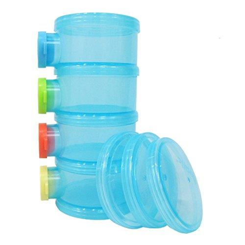 Basilic Baby Formula Dispenser/Milk Powder Container/Snack Storage/Pot - 4 Compartment (Blue)