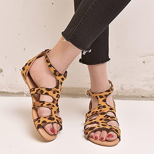 CTEJ Sandalias de Plataforma cómoda para Mujer, Damas cuña de Verano de Punta Abierta Zapatos Casuales Zapatos de Playa Casual Playa de Viaje Zapatillas Sandalias,Leopard Print,38
