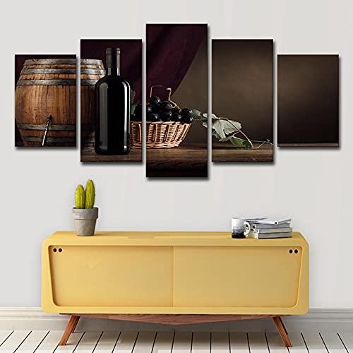 WEUEWQ póster 5 Platos Barril de Vino Botella de Vino Cesta de Mimbre Cocina Restaurante Pared Art Deco -40x60 40x80 40x100cm sin Marco