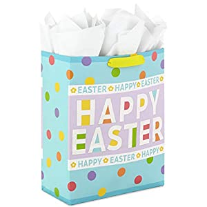 """Hallmark 15"""" Extra Large Easter Gift Bag with Tissue Paper (Happy Easter, Polka Dots) for Easter Baskets, Easter Egg Hunts and Kids Presents"""