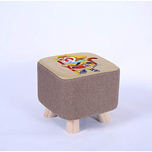 Ronde voetenbank met massief houten leg, beklede kruk, C