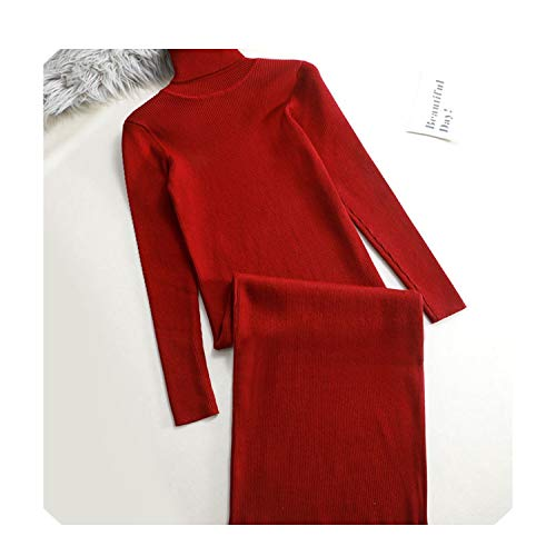 Herfst Winter Vrouwen Basic Sweater Jurk Coltrui Gebreide Sexy Lange Mouw Kantoor Lange Jurk rood Warm Jurk