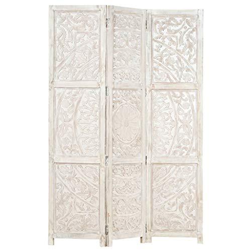 FAMIROSA Biombo 3 Paneles Tallado a Mano Madera Mango Blanco 120x165 cm