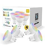 Smart Alexa GU10 Gluehbirne, FREECUBE Wlan LED Lampe, 5W 500LM Dimmbare RGBW Led Gluehbirne,...