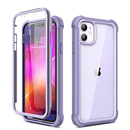 Dexnor Cover Compatibile con iPhone 11 6.1   Cassa, Custodia di Protezione a 360 Gradi, [Antiurto] [Leggero] Pannello Posteriore Trasparente, con Protezione per Lo Schermo - Viola chiaro