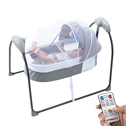 Electric Baby Cradle Toddler Rocker Bed, Newborns Bouncer Swing Bassinet Rocking Crib Infant Bed with Bluetooth Music, Remote Control,5 Swing Amplitudes (Grey)
