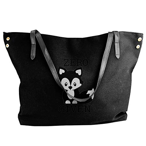 Jiaojiaozhe Zero Fox Given Decal Zero Women's Classic Shoulder Portable Big Tote Handtas Work Canvas Bag