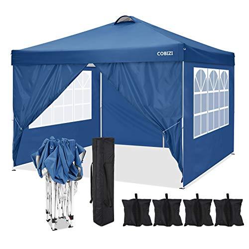 COBIZI Toldo emergente 3x3M Plegable 210D y 600D toldo de Tela Oxford Impermeable Tienda Comercial de jardín de Playa para Senderismo, Camping, Pesca, picnics, Salidas Familiares (Azul)