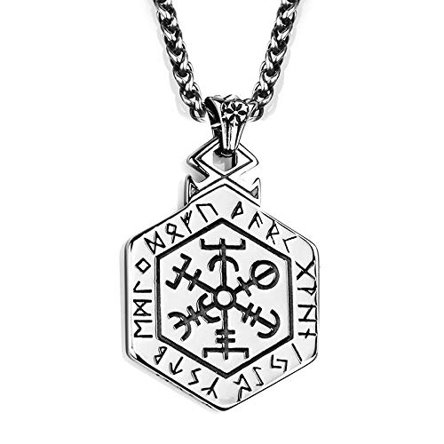 WYPAN Collar de tótem Vikingo nórdico, brújula pagana Celta, Protector Fuerte, Colgante de Hip Hop Punk dominante Masculino y Femenino y Bolsa de Regalo