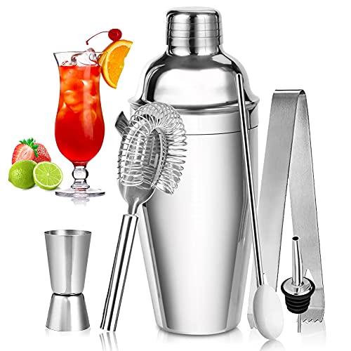 DASIAUTOEM Shaker Cocktail, Kit Professionale per Cocktail Shaker Kit Cocktail Acciaio Inox, Set Regalo Cocktail Kit Barman Jigger, Dosatore Cocktail Ideale per Uso Domestico e Bar o Come Regalo