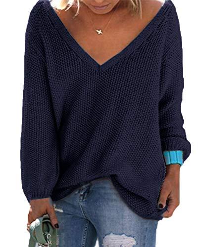 YOINS Femme Pull Long Col V Sweater Tricoté Chandail Lâche Casual Haut Manches Longues Sweatshirt Loose Top Hiver Nouveau-Bleu Foncé M