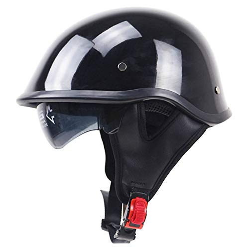 Moto Helmets-Braincap Wehrmacht Stahl Halbschalen Motorrad Vespa Roller Jet Bobber Helm Pilot Cruiser Vintage Moped Chopper Helm Biker Retro DOT Zertifiziert,Brightblack,L