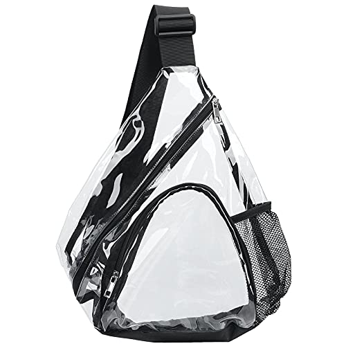 HULISEN Clear PVC Sling Bag Stadium Approved, Backpack with Adjustable Strap