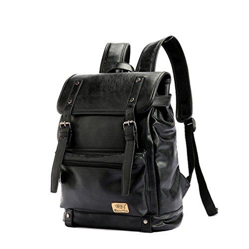 """YFbear Retrò Vintage Zaini in Pelle PU Esterni Viaggi Zaino Scuola Borsa a Tracolla fit iPad e 14"""" Laptop Backpack per Uomo e Donna (Nero)"""