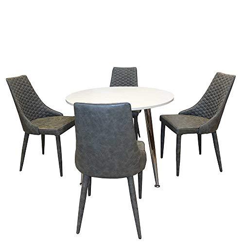 Pharao24 Esszimmergruppe mit rundem Tisch Grau und Weiß