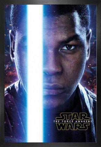 1art1 Star Wars Póster con Marco (Madera DM) - Episodio VII, El Despertar De La Fuerza, Finn Teaser (91 x 61cm)