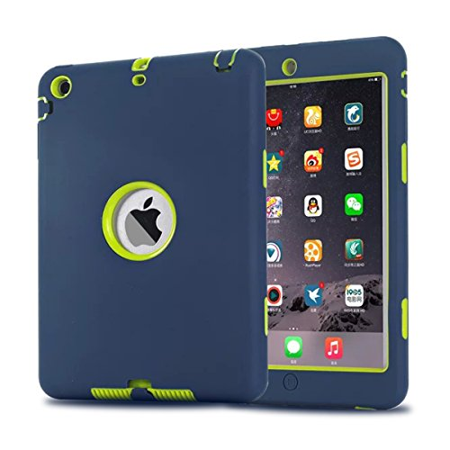 MAKEIT CASE iPad Mini Case, iPad Mini 2 3 Case, 3in1 Hybrid Shockproof Case for iPad Mini 1/2/ 3 (Dark Blue/Fluorescent Green)