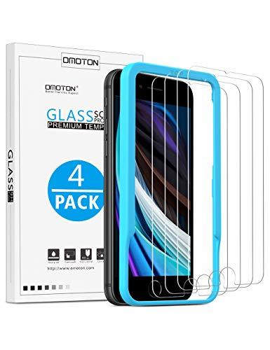 OMOTON Schutzfolie für iPhone SE 2020 [4 Stück], Displayschutzfolie für iPhone SE2 [4,7 zoll]. Ohne Halo Effect, mit Schablone, Anti-Kratzen,Anti-Öl, 9H Härte