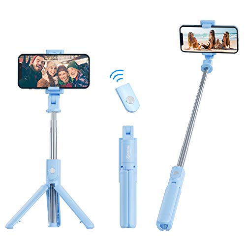 ZONSK Selfie Stick with Tripod Stand and Wireless Remoter, Compatible with iPhone Android Cellphone, Extendable Length 26.8Inch 360°Rotation, Video Recording Vlogging Live Streaming (Sky Blue)