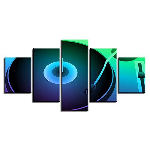 WHFDH canvas schilderij muurkunst drukposter 5 stuks fluorescerende kleur record Dj platenspeler afbeelding nacht bar decoratie 10x15 10x20 10x25cm No Frame