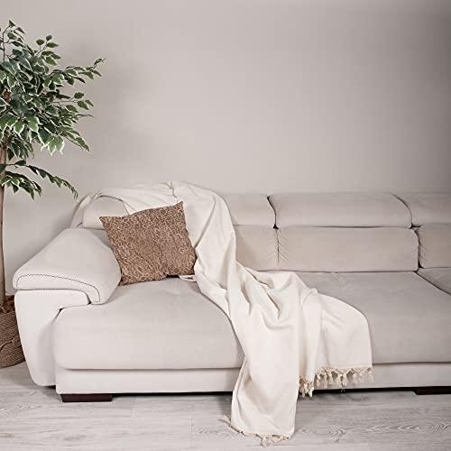 Milam London Premium 100prozent Baumwolle großer Überwurf für Sofa Doppelbett Sessel Sofa I Tagesdecke Decke 170 x 230 cm Ecru