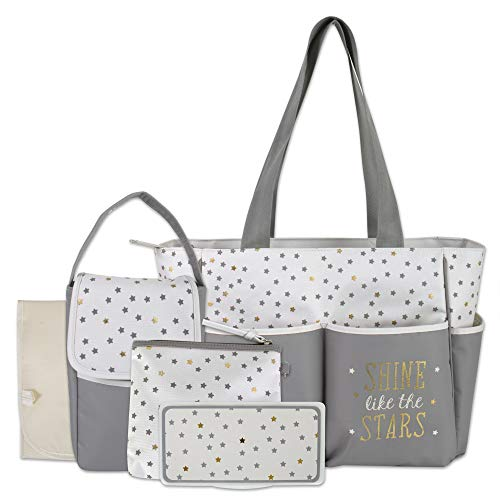 Diaper Bag Tote 5 Piece Set with Sun, Moon, and Stars, Wipes Pocket, Dirty Diaper Pouch, Changing Pad (Grey/Cream)