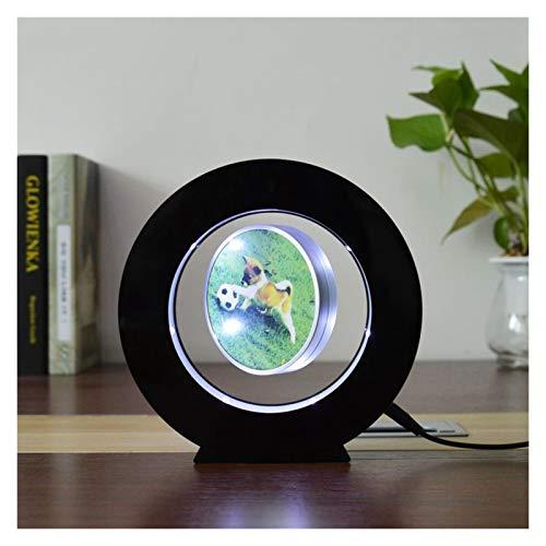 Youpin Runder Form Levitating Bilderrahmen for Magnetschwebebahnen Geschenk schwebenden Bilderrahmen mit l - e - d Lichter (Color : Black)