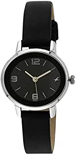Fastrack Women's Black Dial Leather Band Watch - T6107SL02