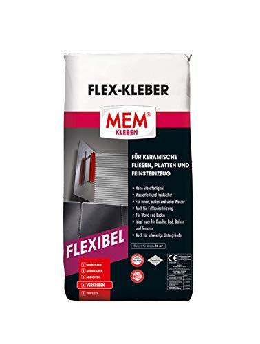 MEM Flex-Kleber - 25 KG - Ein flexibler Dünnbettmörtel - Dauernass - Frostbeständig und von hoher Verformbarkeit - Für Untergründe aus Beton, Zement-, Kalk- und Gipsputz - 30822618