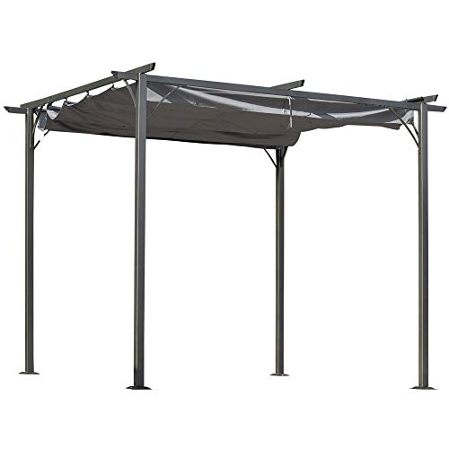 Outsunny 3x3 (m) Metal Pergola Gazebo Awning Retractable Canopy Outdoor Garden Sun Shade Shelter Marquee Party BBQ Grey