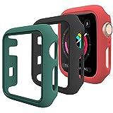【Pezzi -3】DEOU Cover per Apple Watch Custodia 42mm Series 3 2 1, Senza Protezione per Lo Schermo, Hard Custodia Protettiva per Apple Watch Series 3 2 1 (42mm, Nero + rosso + verde)