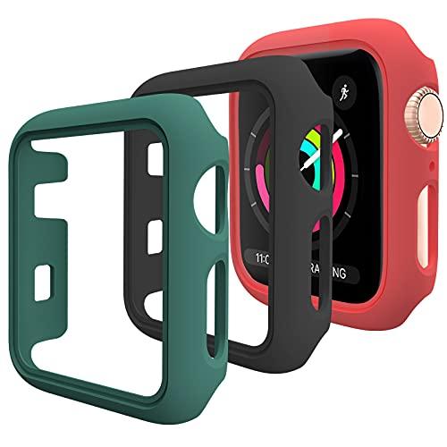 Pezzi -3DEOU Cover per Apple Watch Custodia 38mm Series 3 2 1, Senza Protezione per Lo Schermo, Hard Custodia Protettiva per Apple Watch Series 3 2 1 (38mm, Nero + rosso + verde)