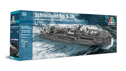 Italeri 5620 Schnellboot Typ S-38 armed with 4.0 cm Flak 28 Bofors, Model kit navi Scala 1:35