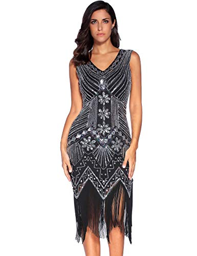 meilun Vestido de cóctel Gatsby de lentejuelas de los años 20 para mujer