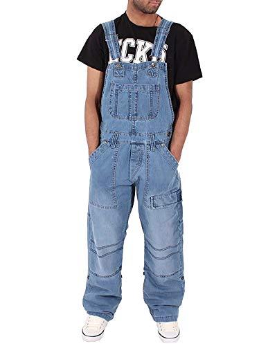 DianShaoA Peto Corte Ajuste Holgado Pantalón para Hombre Mono Vaquero Mezclilla Jumpsuit Casual Pantalones con Bolsillos Zarco 2XL